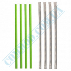 Paper wrapped drinking paper straws Ǿ=6mm L=200mm without corrugation green 100 pieces per pack