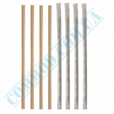 Straws for drinks   paper   not flexible   Ǿ=8mm L=200mm   craft   individually in paper   100 pieces per pack