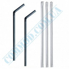 Straws for drinks   plastic   flexible   Ǿ=5mm L=210mm   black   individually in paper   200 pieces per package