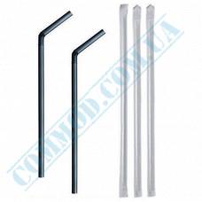 Paper wrapped plastic flexible drinking straws Ǿ=5mm L=21cm black 200 pieces per pack