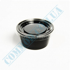 Plastic PP sauce bowls   60ml   black   for cold and hot   round   with separate outer cover   100 pieces per pack
