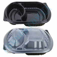Lunch boxes 200*240mm plastic PP black with transparent lid 2 sections 50 pieces