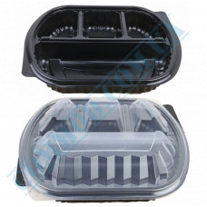 Lunch boxes 200*240mm plastic PP black with transparent lid 4 sections 50 pieces