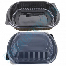 Lunch boxes 200*240mm plastic PP black with transparent lid 1 section 50 pieces