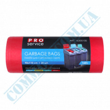 Garbage bags 160L polyethylene LD 24mkm Red 20 pieces per roll PRO Service