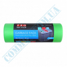 Garbage bags 160L polyethylene LD 24mkm Green 20 pieces per roll PRO Service