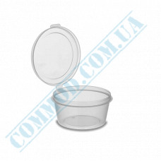 Sauce bowls 30ml round PP for cold and hot transparent with hinged lid 80 pieces (lid closes outward)