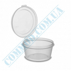 Sauce bowls 50ml round PP for cold and hot transparent with hinged lid 80 pieces (lid closes outward)