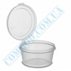 Sauce bowls 80ml round PP for cold and hot transparent with hinged lid 80 pieces (lid closes outward)