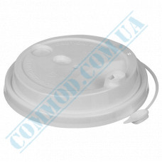 Plastic PP lids Ǿ=80mm for paper cups 250-340ml white with closure 100 pieces per pack