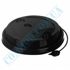 Plastic PP lids Ǿ=90mm for paper cups 350-500ml black with closure 100 pieces per pack