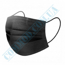 Medical protective masks three-layer black spunbond 50 pieces per pack (Ukraine)