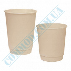 Sugarcane (bagasse) double wall paper cups 250ml beige 25 pieces per pack