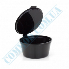 Plastic PP sauce bowls   50ml   black   for cold and hot   round   with one-piece inner lid   75 pieces per pack
