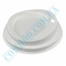Paper lids made of paper fiber Ǿ=80mm for paper cups 250-340ml white 65 pieces per pack