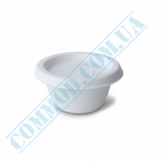 Round paper sauce bowls 60ml made of sugar cane for hot and cold sauce white with lid 100 pieces per pack