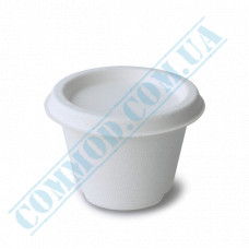 Round paper saucers 110ml made of sugarcane for hot and cold sauce white with lid 100 pieces per pack