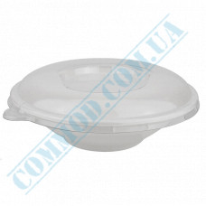 Round paper containers 700ml from sugarcane for cold and hot white with a transparent lid 50 pieces per pack