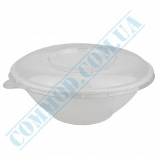 Round paper containers 1000ml from sugarcane for cold and hot white with a transparent lid 50 pieces per pack