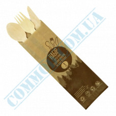 Set | Fork Spoon Knife Wooden | 160mm | 600 pieces in a box