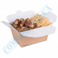 Paper containers | 1300ml | 97*148*94mm | Craft | Huhtamaki | for hot and cold food | 50 pieces per pack